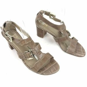 Stuart Weitzman Shoes - Stuart Weitzman Snakeskin Sandals Tan Heeled Gold